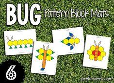 Bug Pattern Block Mats (via Learning & Teaching With Preschoolers; from PreKinders: http://www.prekinders.com/pattern-blocks/)