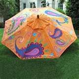 bright hand painted paisley patio umbrella also from home infatuation . Parasols, Patio Umbrellas, Outdoor Projects, Outdoor Decor, Outdoor Ideas, Outdoor Living, Small Patio Design, Umbrella Painting, Art
