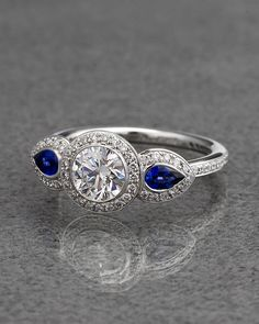 Ritani Platinum Diamond & Pear Shaped Sapphire Three Stone Ring - explore our art deco selection http://www.ritani.com/engagement-rings/style/art-deco-engagement-rings