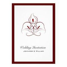 Gorgeous Burgandy Calla Lillies wedding invitations.