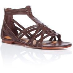 UGG AUSTRALIA Chocolate Nayami Stringed Flats ($132) ❤ liked on Polyvore featuring shoes, sandals, flats, sexy flats, gladiator shoes, sexy flat shoes, flat shoes and chocolate shoes