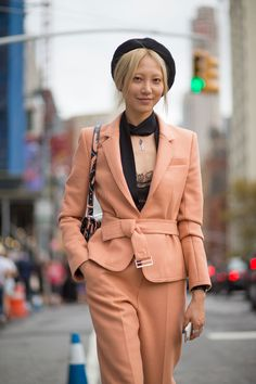 NYFW 2015 S/S 2016 women fashion outfit inspiration collection blazer suit coral blush black accessories New York fashion week Soo Joo Park   - HarpersBAZAAR.com