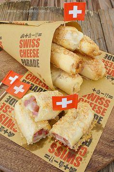 Sigarotti ripieni di Gruyère e prosciutto cotto affumicato - Gruyère cheese and smoked ham rolls