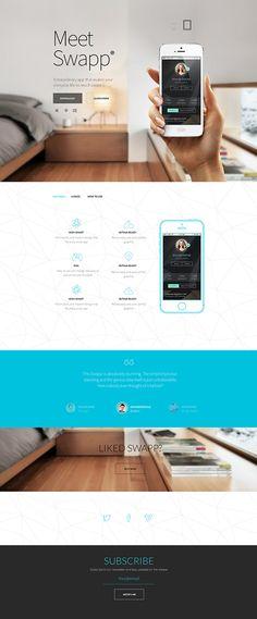 Swapp - Responsive Retina HTML5 App Landing Page by Tanya Suhodolska, via Behance