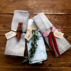 Christmas decoration tip Make your own napkin rings by attaching chillies, rosemary, flowers and thistles to ribbon then tying them around your napkins.