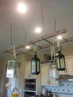 New use for an old ladder...pot rack...light fixture...