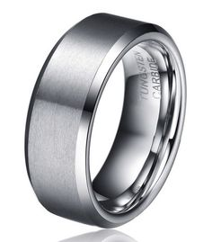 Men's Wedding Ring | This Tungsten Carbide is an incredible band with beveled edges for a smooth and comfortable feel. The 8mm width and high polished