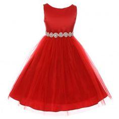 Big Girls Red Glitter Twist Rhinestone Waist Satin Tulle Christmas Dress 8-12