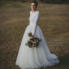 Simple Design Scoop Neck Long Sleeve Long A-line Tulle Wedding Dresses, WD0196