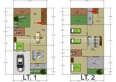 Desain Denah Rumah 2 Lantai Mungil Luas 100 m2