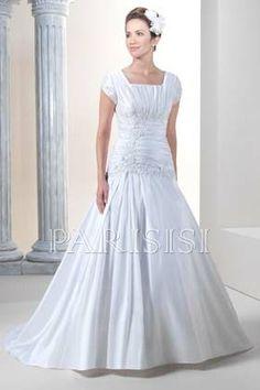 Plus Size Wedding Dress Taffeta White Scoop Long Zippered-Back A-Line price USD $258 - PARISISI ONLINE DISCOUNT SHOP