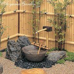 Japanese Garden Backyard, Bamboo Garden, Water Garden, Garden Plants, Japanese Gardens, Japan Design, Japanese Water, Garden Fountains, Garden Stones