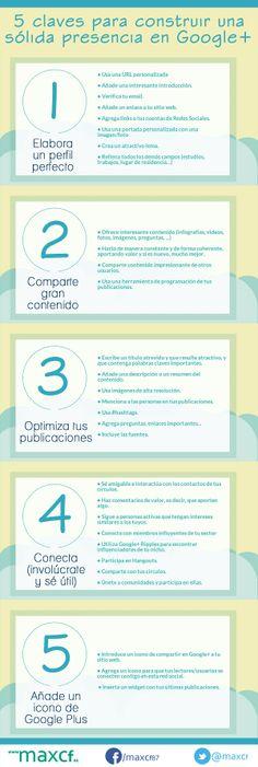 5 claves para construir una presencia sólida en Google+. Infografía en español. #CommunityManager