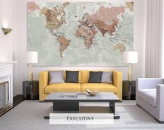 Huge classic world map canvas pinterest big boy bedrooms giant sized canvas world map executive gumiabroncs Images