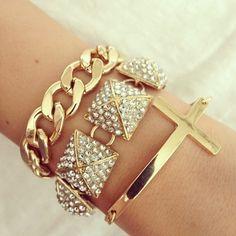 stacking gold ✤Sideways Side Cross Bracelet
