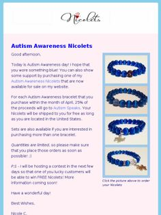 Check out this Mad Mimi newsletter #accessories #nyc #beads #bracelets #autism #autismspeaks #lightitupblue
