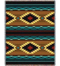 """NAVAJO Tapestry Throw"" This southwest design was designed by one of our in house artists. The colors in this are sure to add warmth to any southwest style decor. Woven on Jacquard looms. Southwest Quilts, Southwest Style, Southwest Decor, Blue Tapestry, Tapestry Crochet, Tapestry Weaving, Navajo Rugs, Indian Patterns, Weaving"