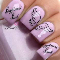 Beautiful nails 2016, Nails for young mothers, Nails with angel wings, Nails with inscriptions, Nails with stickers, Pale liliac nails, Pink manicure ideas, Purple nails