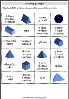 properties of shapes cut paste 3d Shapes Activities, 3d Shapes Worksheets, Geometry Worksheets, Teaching Shapes, Preschool Learning Activities, French Worksheets, Sensory Activities, Math Worksheets, Teaching Resources