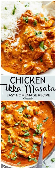 Chicken Tikka Masala is creamy and easy to make right at home in one pan with simple ingredients! Full of incredible flavours, this tikka rivals any Indian restaurant! Aromatic golden chicken pieces in an incredible creamy curry sauce, this Chicken Tikka Masala recipe is one of the best you will try!   cafedelites.com