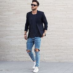A blazer Tshirt + Ripped denim outfit ⋆ Men's Fashion Blog - TheUnstitchd.com