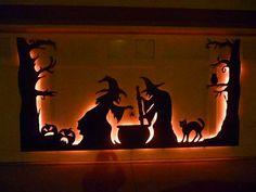 Imagen de Halloween de la puerta del garage de la silueta