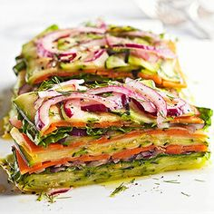 Stacked Summer Vegetable Salad - vegan, vegetarian, gluten free - FoodSniffr For Healthy & Responsible Living Raw Food Recipes, Veggie Recipes, Healthy Dinner Recipes, Salad Recipes, Vegetarian Recipes, Cooking Recipes, Vegan Vegetarian, Cooking Tips, Baker Recipes
