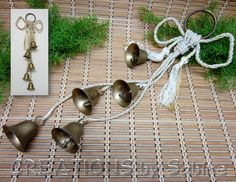 Brass Christmas Bells Vintage / Jingle Chimes Door Wall Hanger Ringer / Holiday Decor Decorations White Gold Cord Classic Traditional  by CREATIONSbySabine