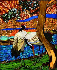 Etruscan Art Glass Mosaic  Monte J. Gennai  Whooping Cranes