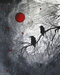 Surrealism Featured Images - Original Abstract Surreal Raven Red Blood Moon Painting The Overseers by MADART by Megan Duncanson Kunst Online, Online Art, Fantasy Kunst, Fantasy Art, Fine Art Amerika, Raven Art, Moon Painting, Crows Ravens, Blood Moon