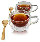 Princeton Wares Double Wall Glass Insulated Tea Cup Coffee Mug Set 2-Pack 12 oz with 2 Bamboo Teaspoons
