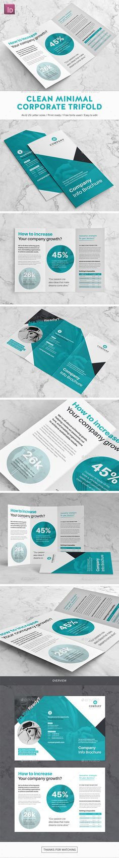Clean Minimal Corporate Trifold Brochure Design Template - Corporate Brochures Design Template InDesign INDD. Download here: https://graphicriver.net/item/clean-minimal-corporate-trifold-brochure/19425211?ref=yinkira