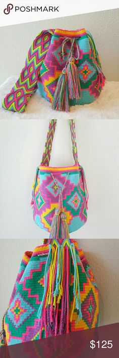 Wayuu Bag 100% Wayuu Mochila bag. This beautiful unique bag is fun and bright with so many different colors to look at. Would make any outfit stand out. Please no trades. Thank you for viewing my item :) Bags Shoulder Bags