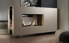 Gorgeous Double Sided Fireplace Design Ideas, Take A Look ! Modern Fireplace, Fireplace Design, Fireplace Ideas, Home Living Room, Living Room Designs, See Through Fireplace, Indoor Outdoor Fireplaces, Double Sided Fireplace, Muebles Living