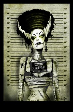 Franky's Wife Arrested Art print by Marcus by screamingdemons, $10.00