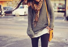 slouchy sweater, white t, black skinnys, scarf