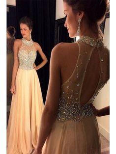 New Arrival  A-Line Scoop Sleeveless  Chiffon Champagne Prom Dresses(ED0968) - Long Prom Dresses - PROM DRESSES