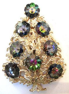 HOLIDAY Vintage LJM Watermelon Marguerite Crystal Christmas Tree Pin Brooch