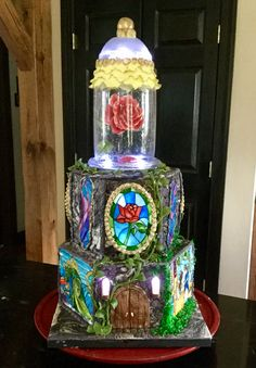 Amazing Lighted Beauty and the Beast birthday cake- front view