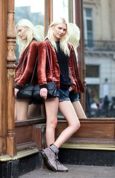 oxblood outerwear; the cool factor with leopard lace-ups  Paris Fashion Week: Street Style
