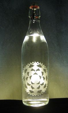 Crown ChakraEtched Glass Water Bottle by BottlenSoul on Etsy