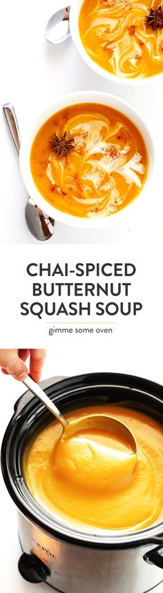 This Chai Butternut Squash Soup recipe is easy to make, naturally gluten-free and vegan, and seasoned simply and deliciously with a simple chai tea bag. My kind of fall comfort food.