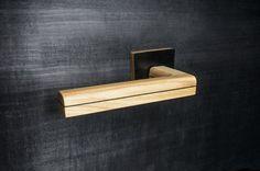 Wooden Door handle | Ash wood & Coal black Bolivar wood | Square