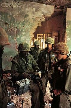 03 Feb 1968, Hue, South Vietnam --- US Marines in Battle Scarred Building