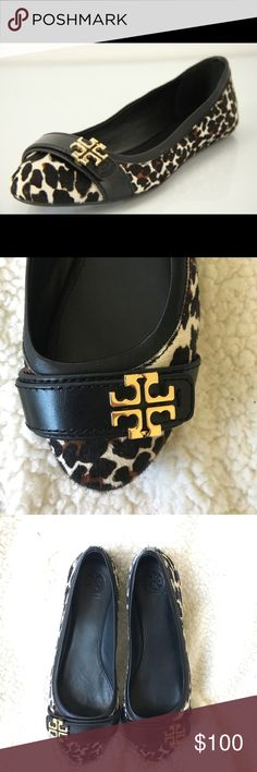 Tory Burch Eloise 2 Leopard Ballet Flats The elegant Eloise flat sports a spotted calf hair upper and a golden logo for a luxuriant take on timeless, take-anywhere style. Excellent condition, worn twice. My feet are slightly too wide for them ☹️ Tory Burch Shoes Flats & Loafers