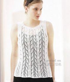 женский топ белого цвета вязаный спицами