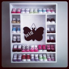 Baby Shoe Organization: Store your baby's shoes on wooden shelves in the nursery or hung on the closet wall!
