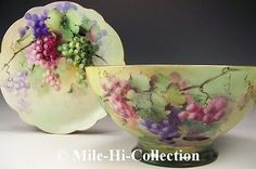 """Superb Painting Limoges France Handpainted Grapes 14"""" Punch Bowl 14"""" Charger 
