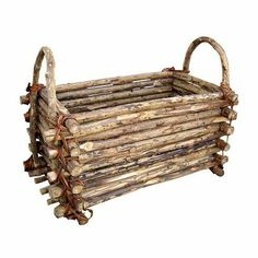 Twig Rectangular Basket When January rolls around and it's time to take the holiday decorations down, this artificial tree storage bag is a must-have. Twig Crafts, Nature Crafts, Wood Crafts, Decor Crafts, Garden Projects, Wood Projects, Decoration Branches, Diy Earrings Easy, Willow Furniture