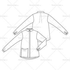 Woman's Loose Shirt with Draped Pocket Fashion Flat Template